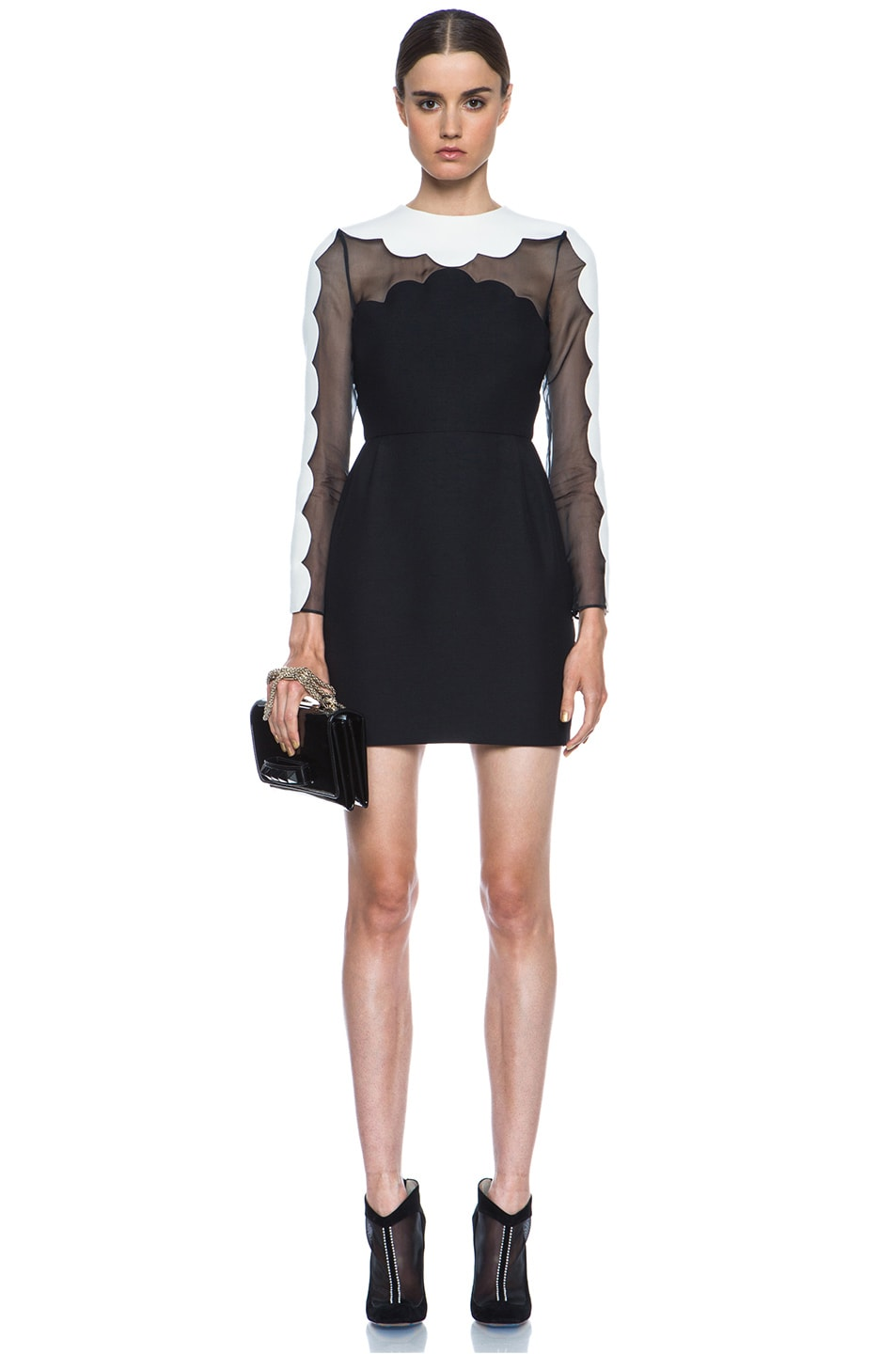 Image 5 of Valentino Scallop Edge Tulip Wool-Blend Dress in Black & White