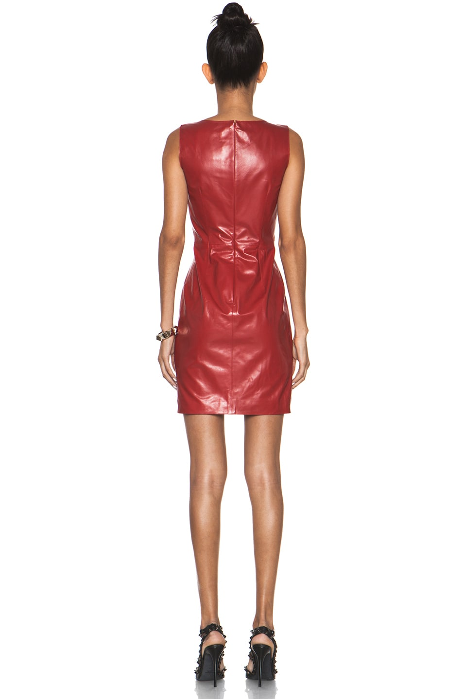 Image 4 of Valentino Leather and Lace Dress in Red