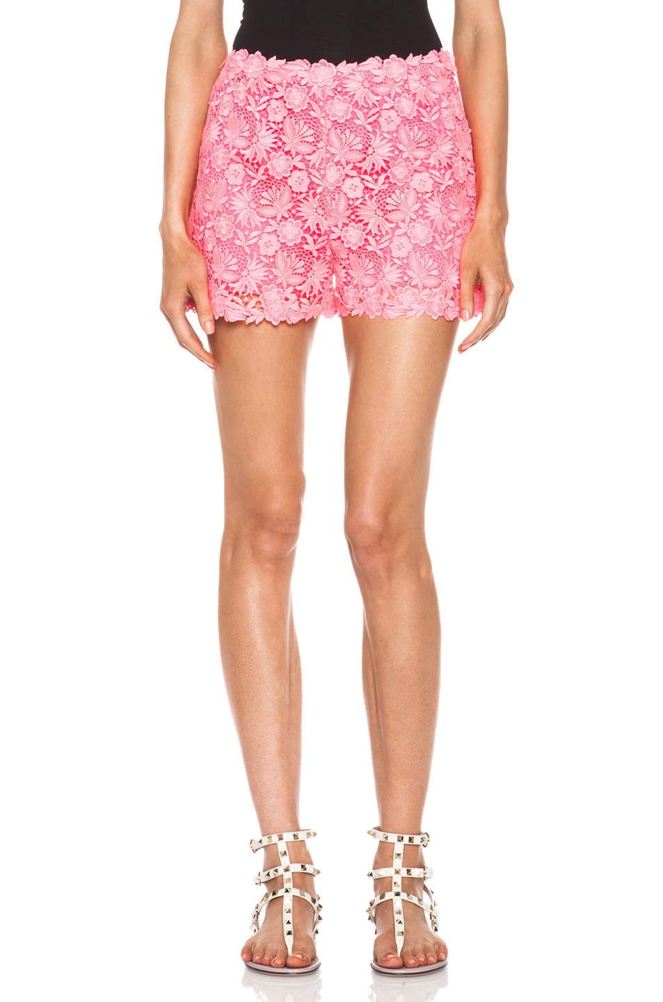 Image 1 of Valentino Garden Crochet Knit Shorts in Fluo Pink