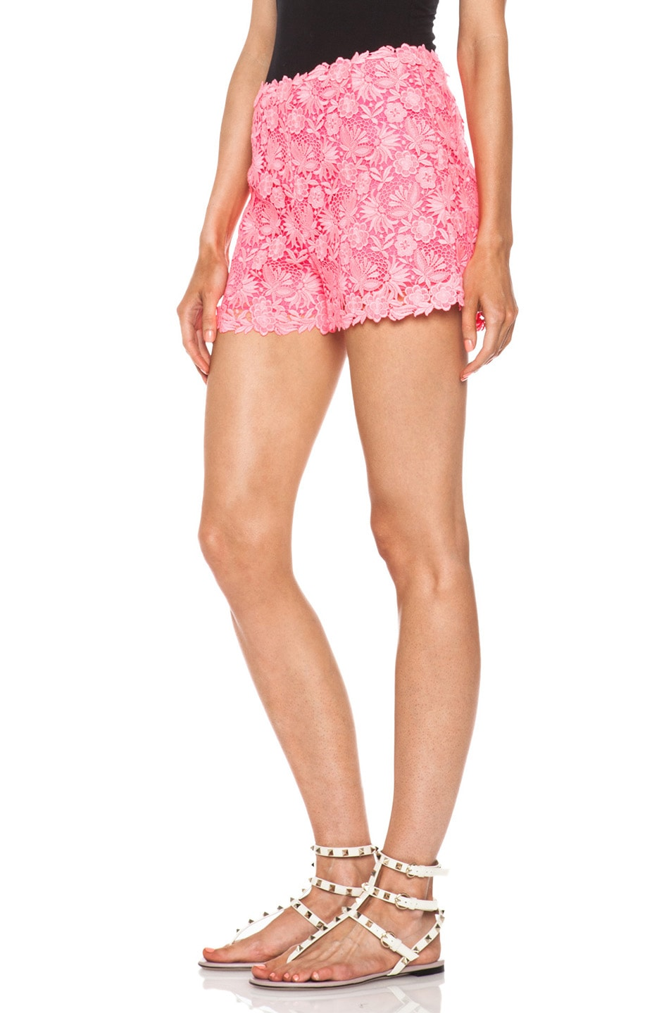 Image 2 of Valentino Garden Crochet Knit Shorts in Fluo Pink