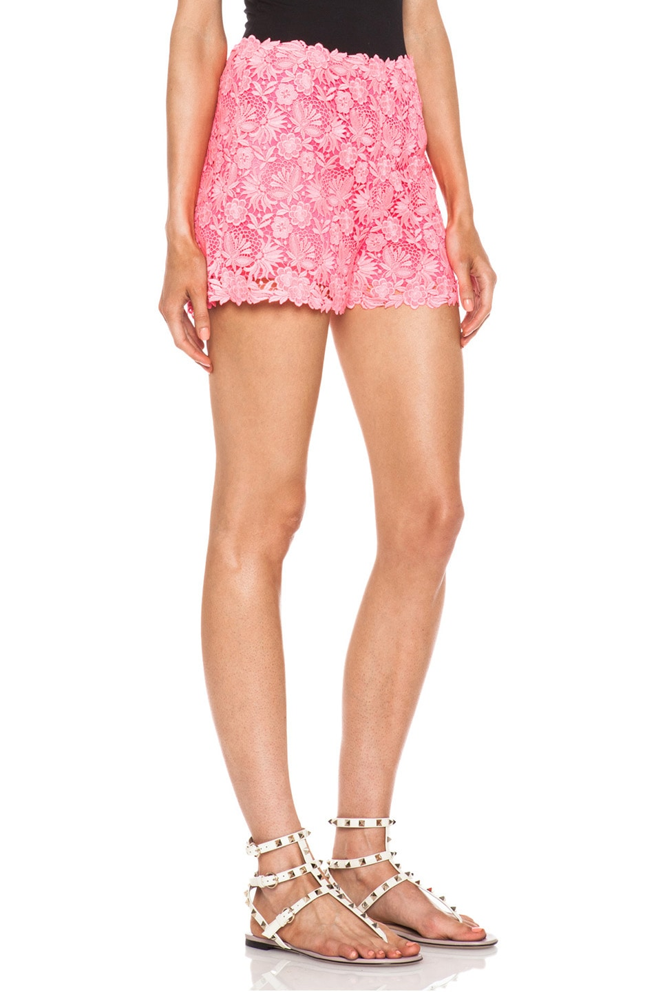 Image 3 of Valentino Garden Crochet Knit Shorts in Fluo Pink
