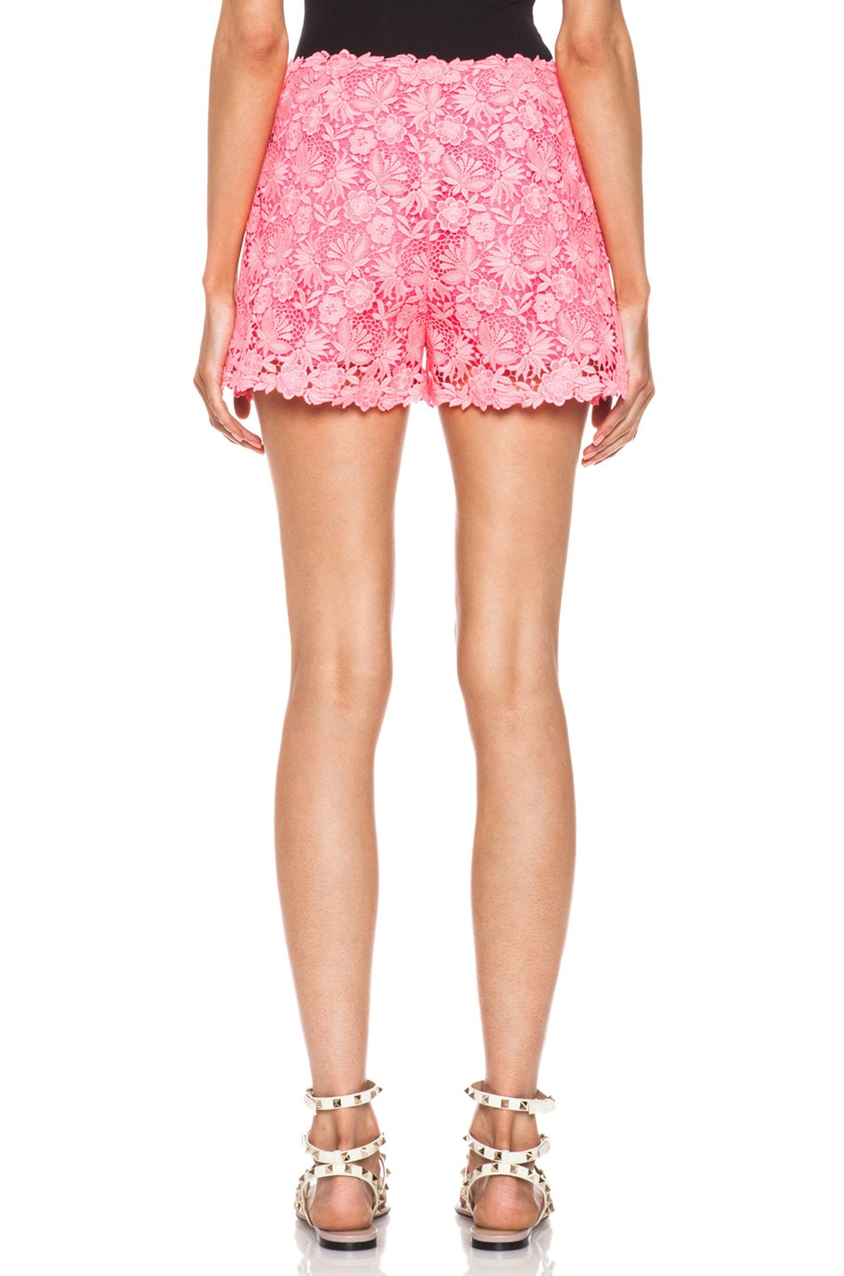 Image 4 of Valentino Garden Crochet Knit Shorts in Fluo Pink