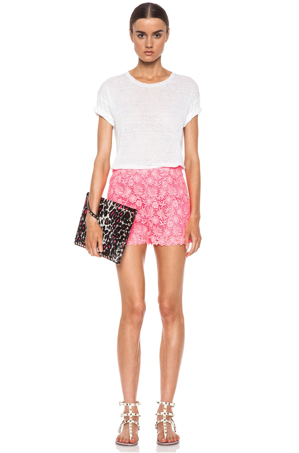 Image 5 of Valentino Garden Crochet Knit Shorts in Fluo Pink