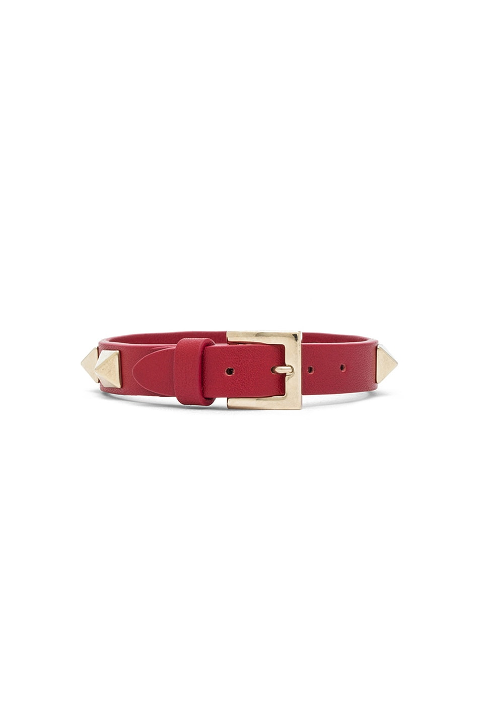 Image 3 of Valentino Small Rockstud Calfskin Bracelet in Red