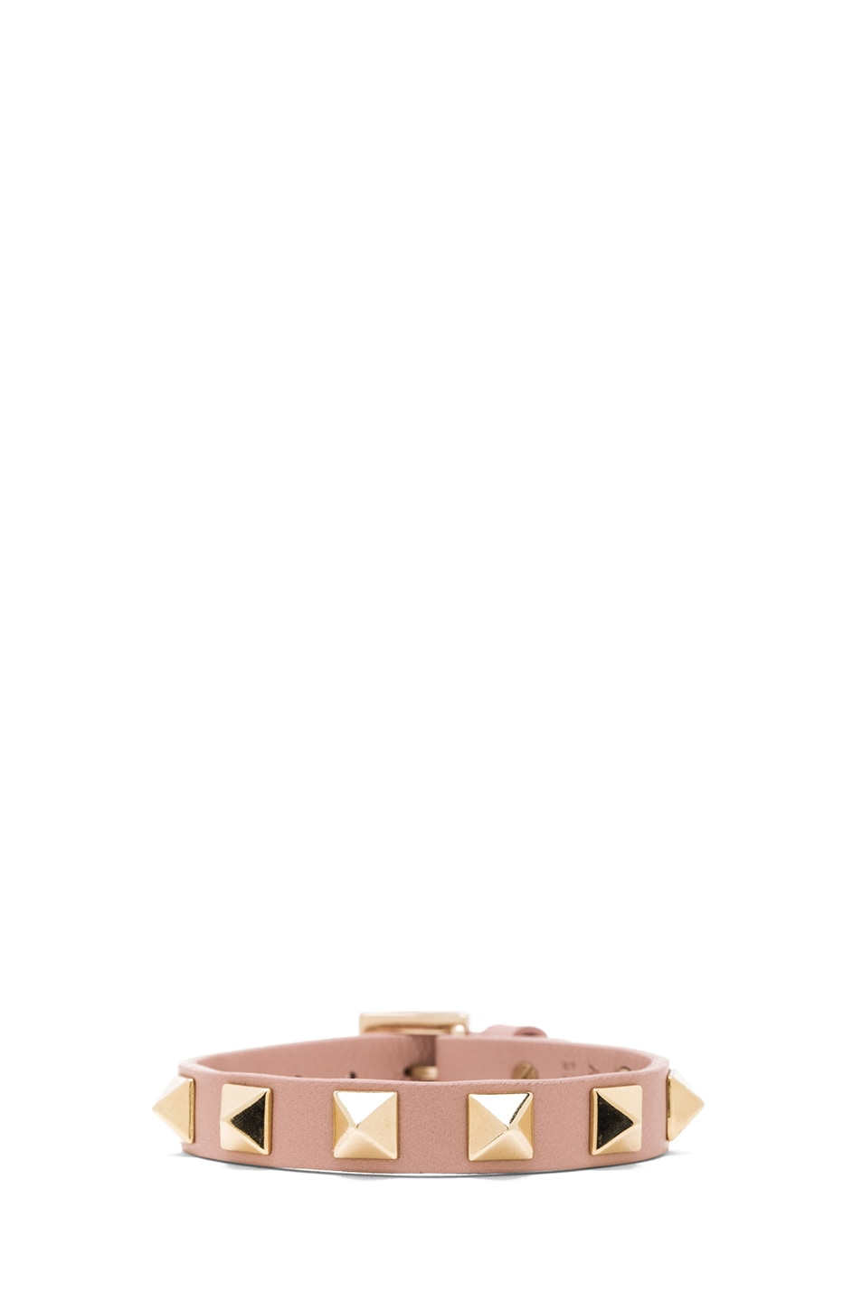 Image 1 of Valentino Small Rockstud Calfskin Bracelet in Waxy Rose