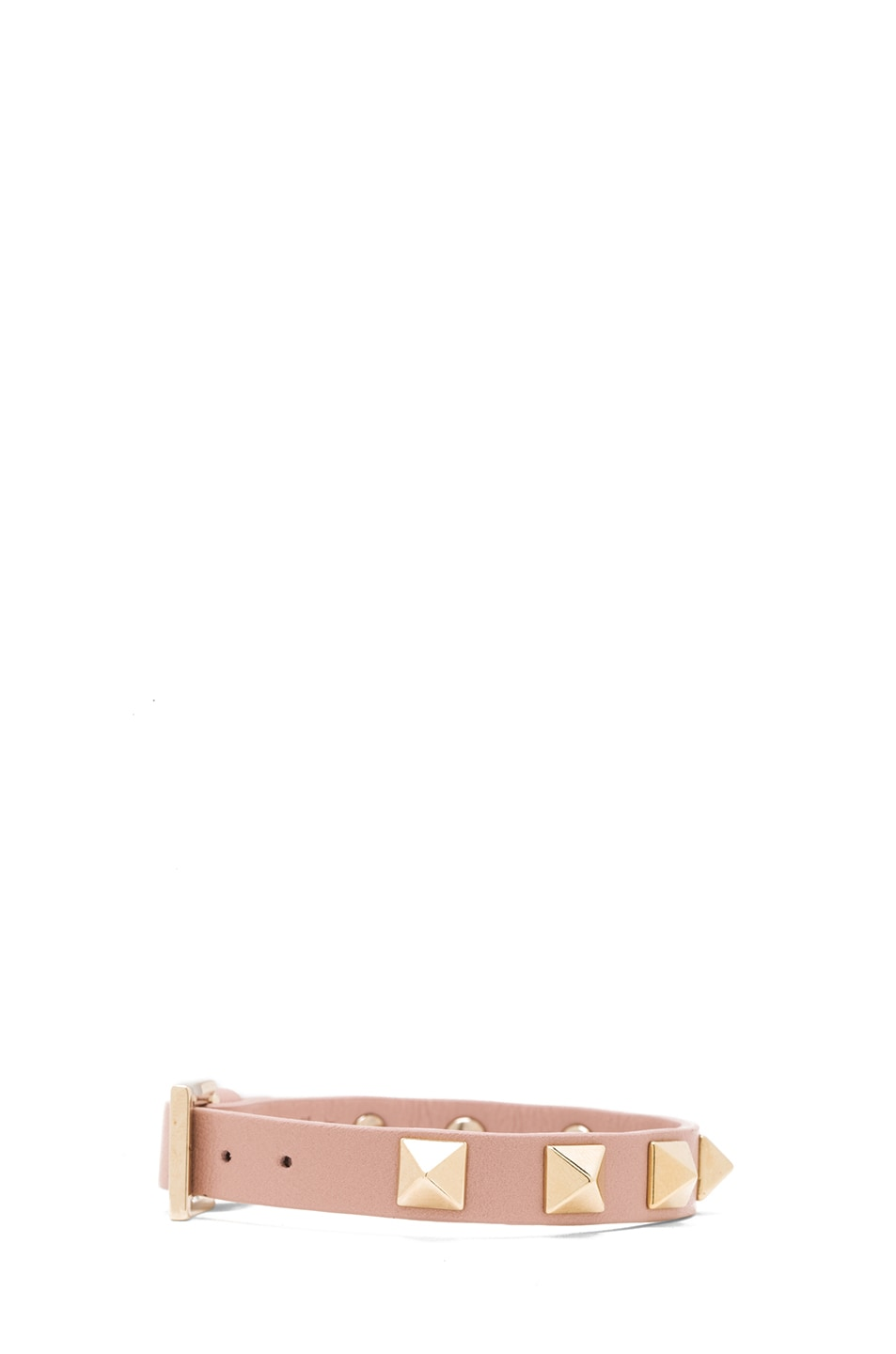 Image 2 of Valentino Small Rockstud Calfskin Bracelet in Waxy Rose