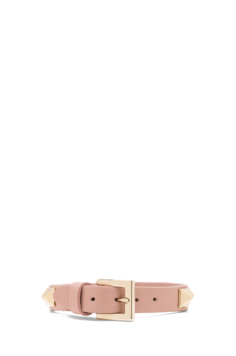 Image 3 of Valentino Small Rockstud Calfskin Bracelet in Waxy Rose
