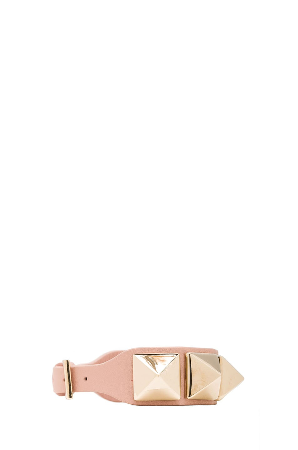 Image 2 of Valentino Medium Rockstud Calfskin Bracelet in Waxy Rose