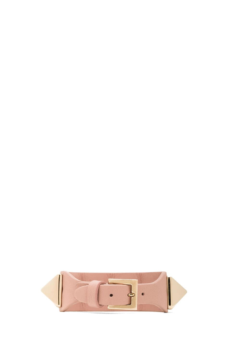Image 3 of Valentino Medium Rockstud Calfskin Bracelet in Waxy Rose