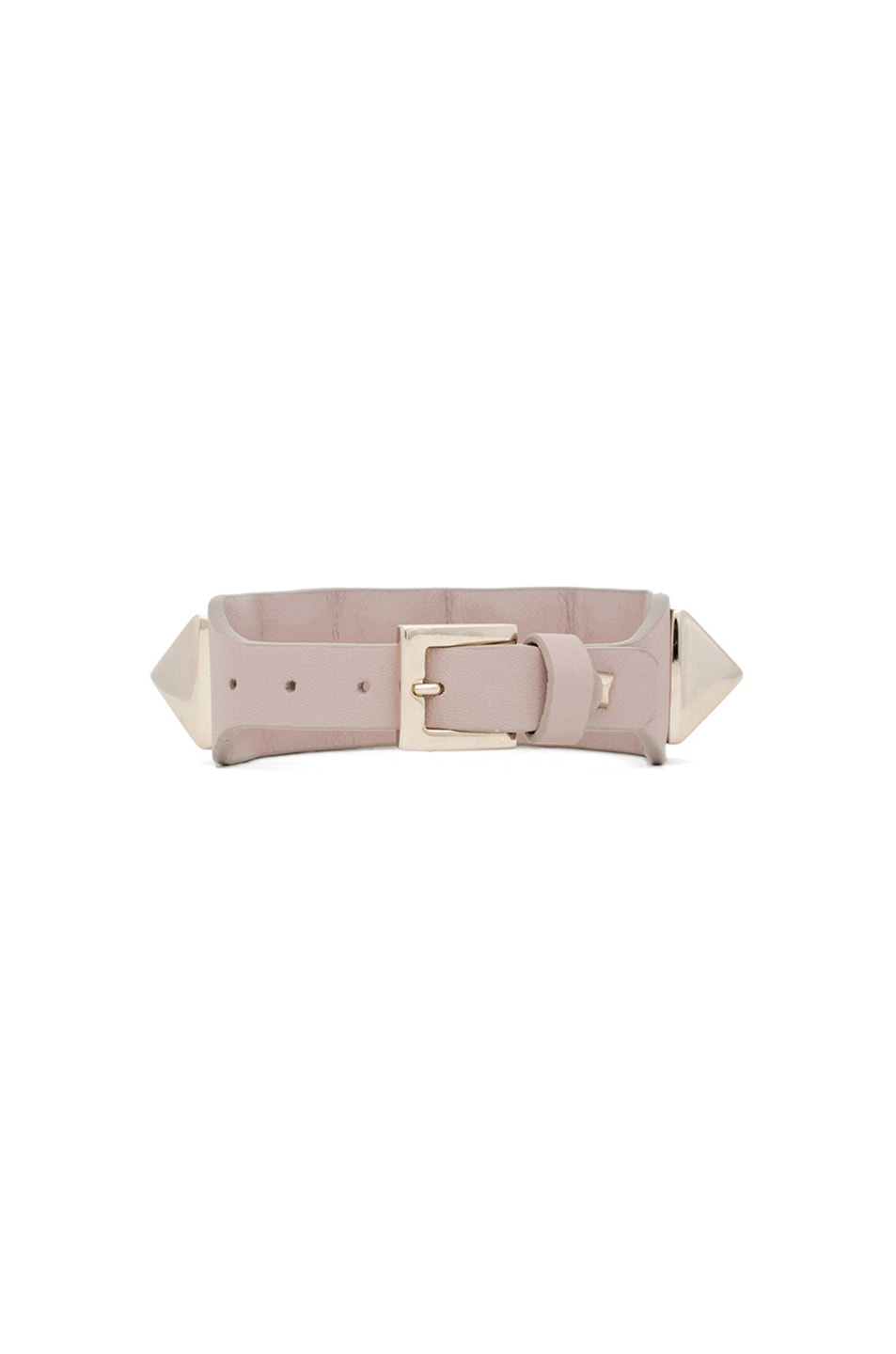 Image 3 of Valentino Medium Rockstud Va Va Voom Leather Bracelet in Poudre