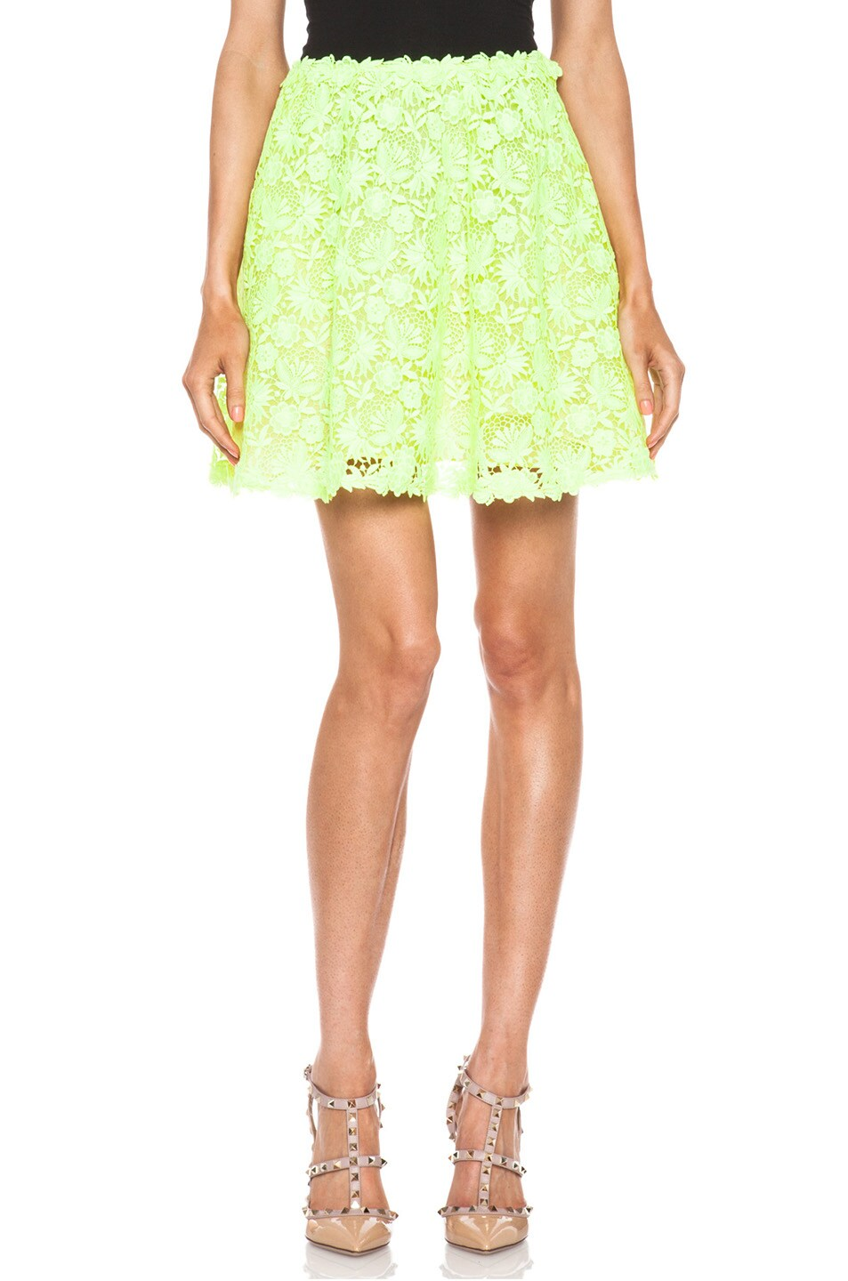 Image 1 of Valentino Garden Crochet Knit Skirt in Fluo Yellow