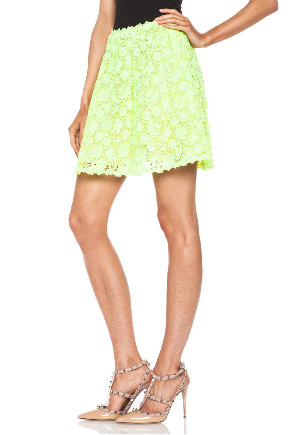 Image 2 of Valentino Garden Crochet Knit Skirt in Fluo Yellow