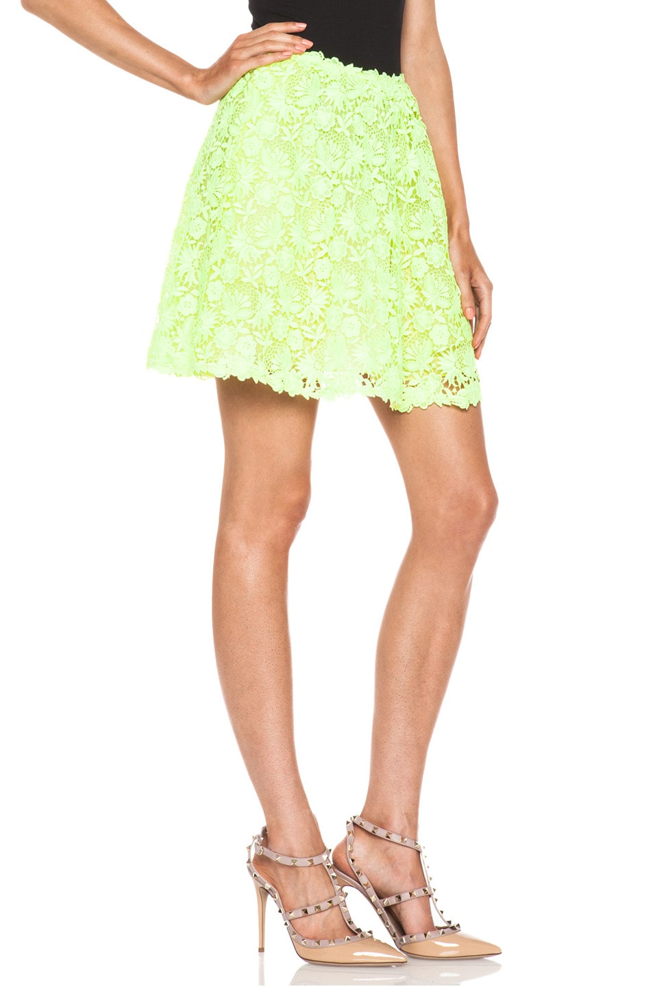 Image 3 of Valentino Garden Crochet Knit Skirt in Fluo Yellow