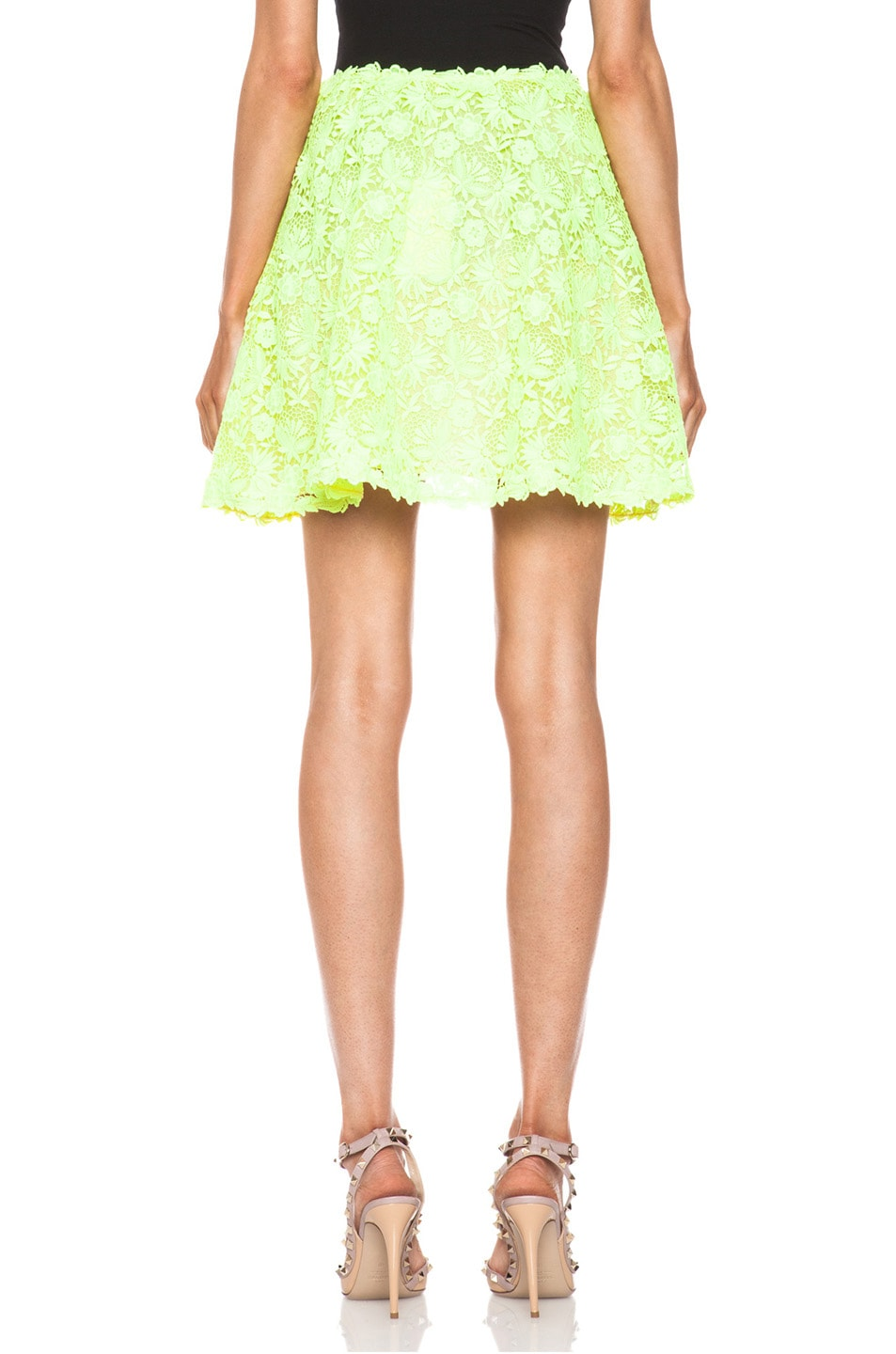 Image 4 of Valentino Garden Crochet Knit Skirt in Fluo Yellow