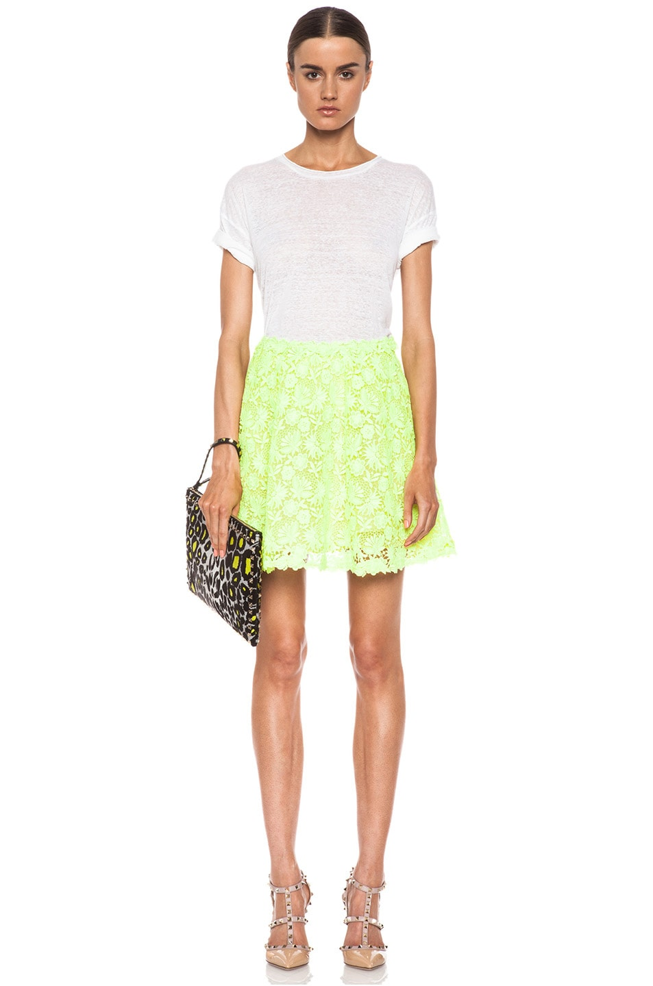 Image 5 of Valentino Garden Crochet Knit Skirt in Fluo Yellow