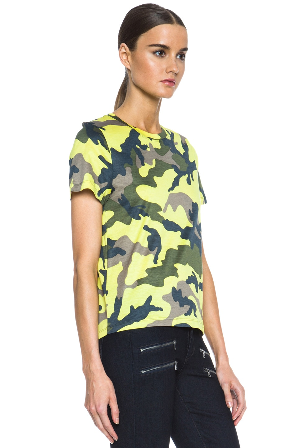 Image 3 of Valentino Camouflage Cotton Tee in Fluo Yellow