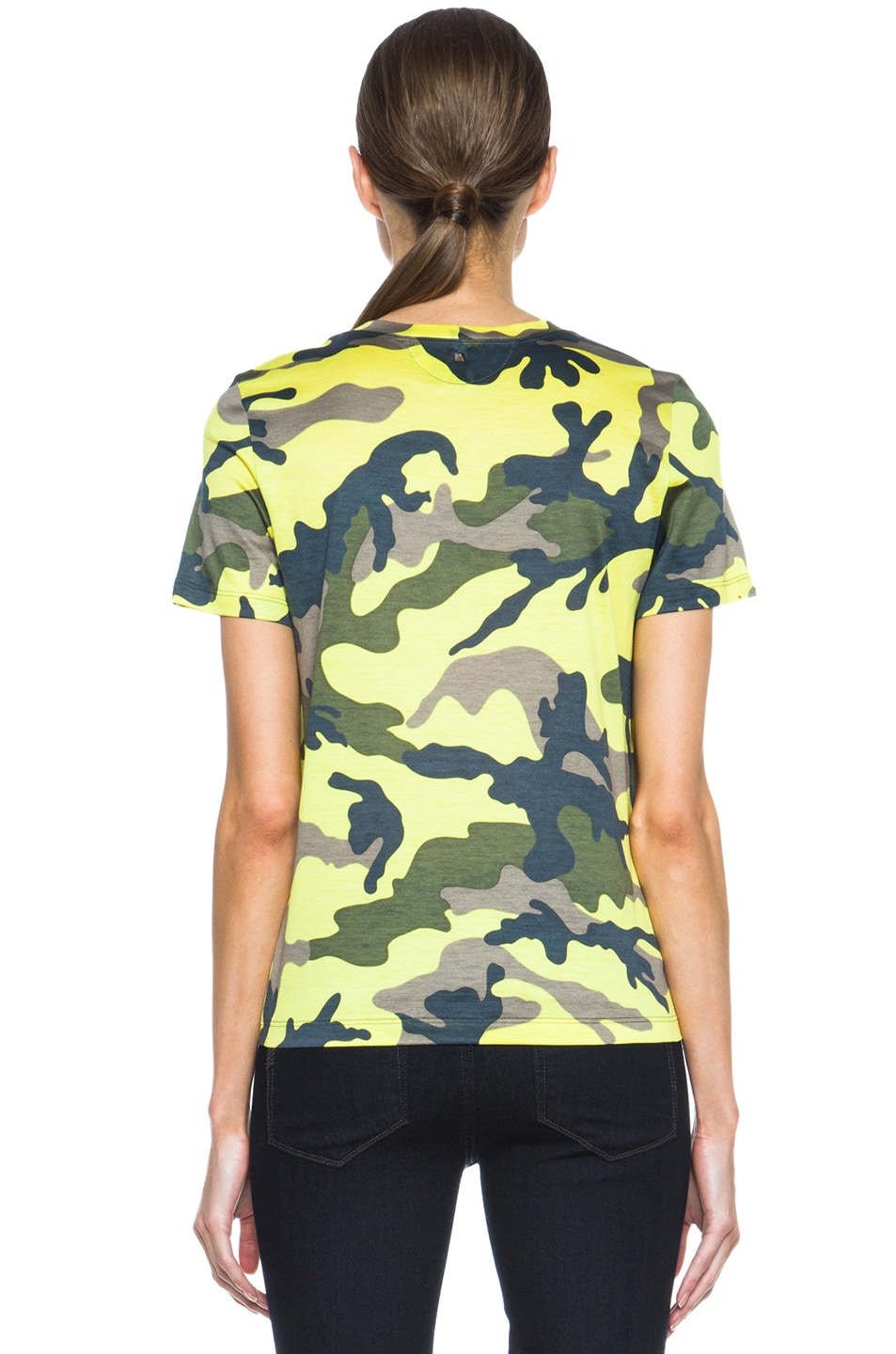 Image 4 of Valentino Camouflage Cotton Tee in Fluo Yellow