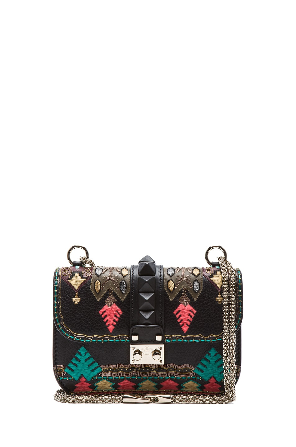 Image 1 of Valentino Small Lock Flap Bag in Black