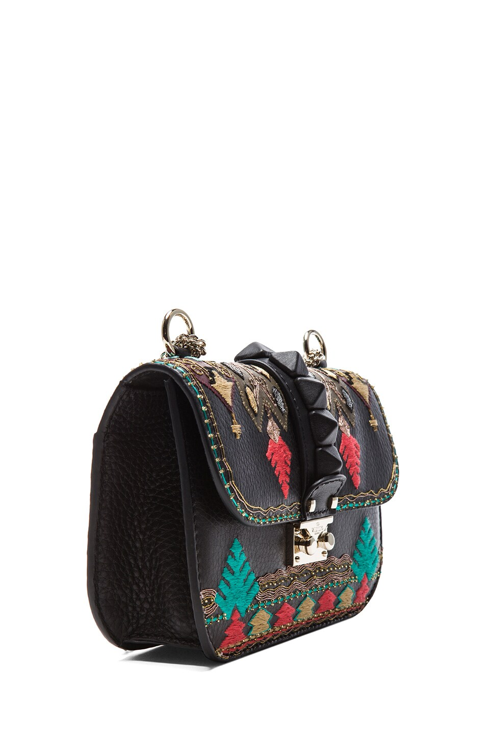 Image 3 of Valentino Small Lock Flap Bag in Black