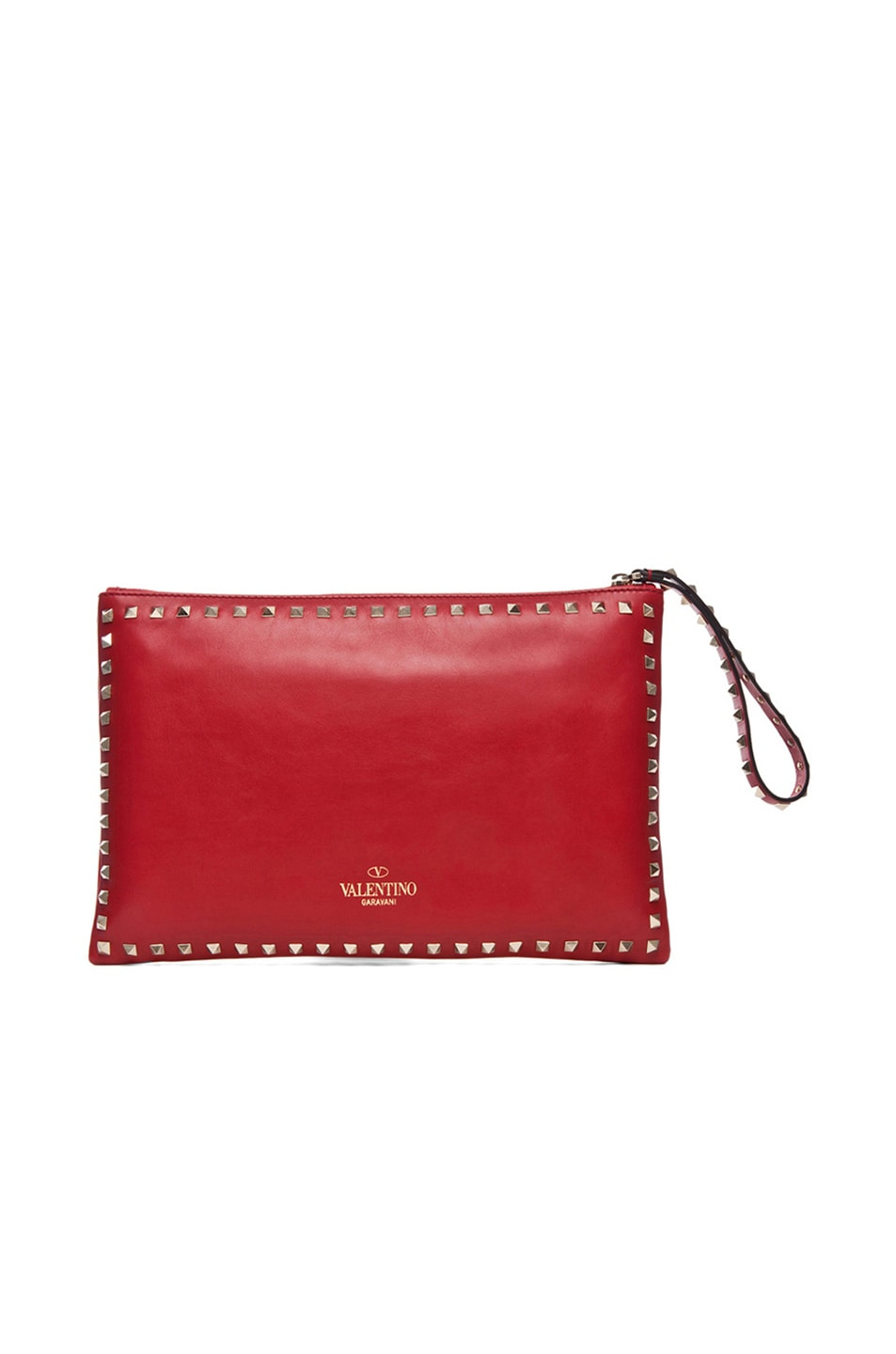 Image 3 of Valentino Small Rockstud Clutch in Red