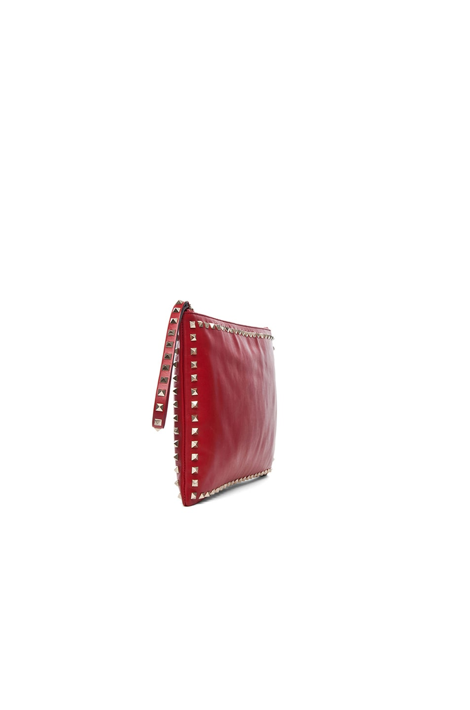 Image 4 of Valentino Small Rockstud Clutch in Red
