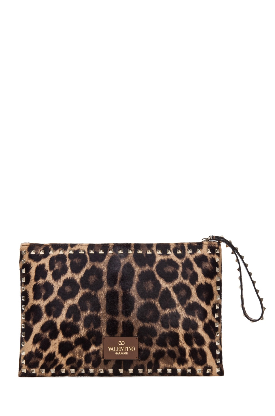 Image 2 of Valentino Rockstud Small Clutch in Leopard