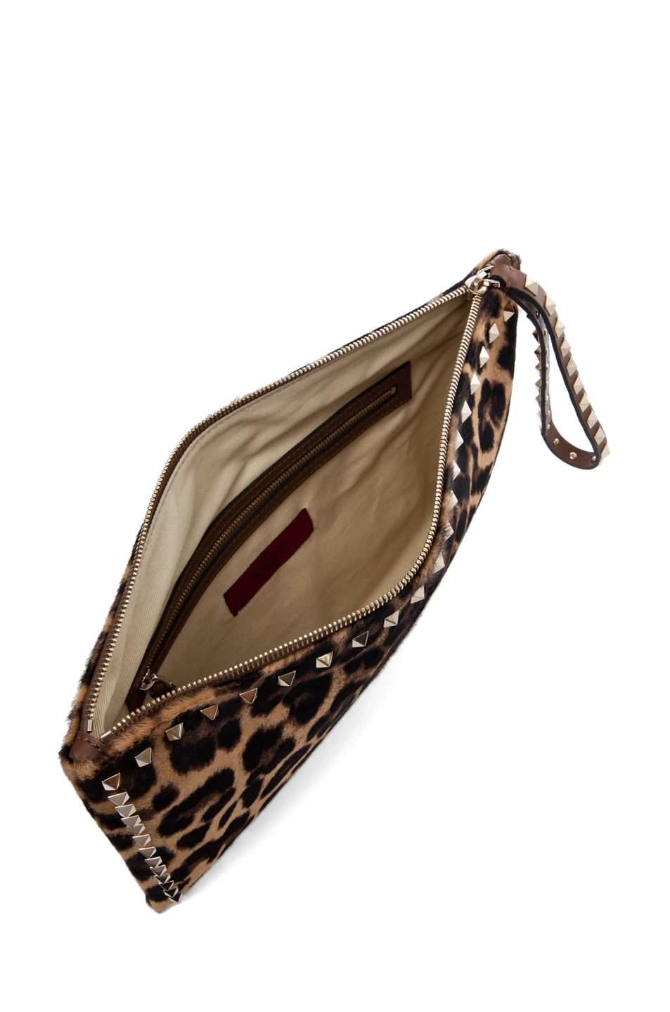 Image 4 of Valentino Rockstud Small Clutch in Leopard