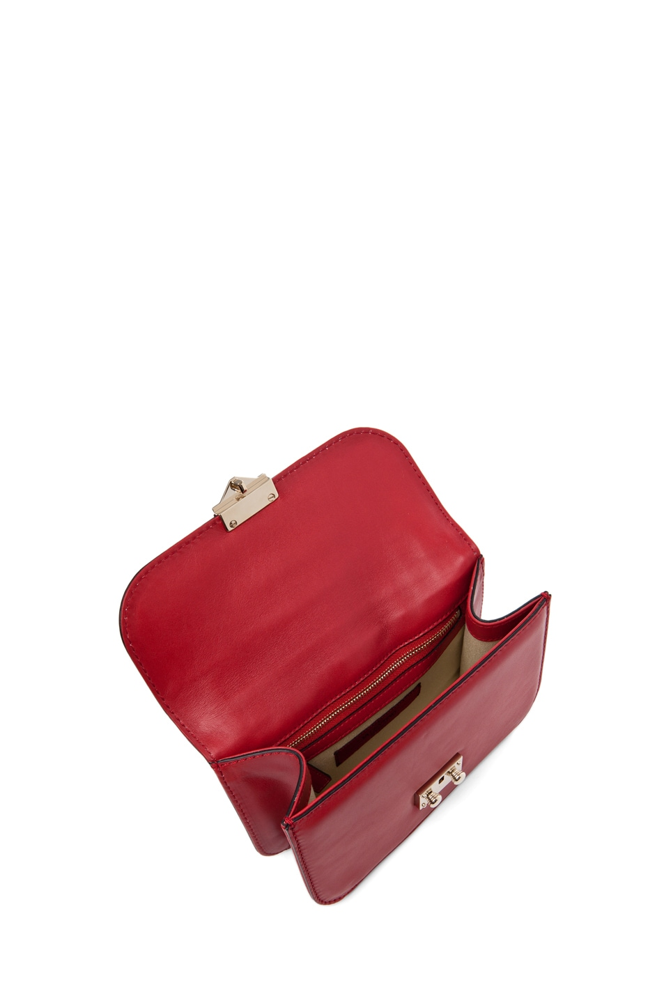 Image 4 of Valentino Lock Flap Bag in Red