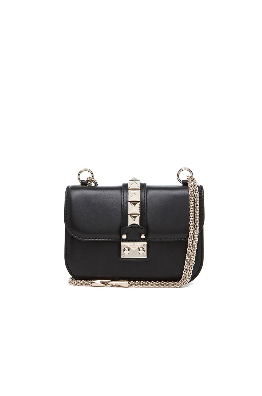 Image 1 of Valentino Mini Lock Flap Bag in Black