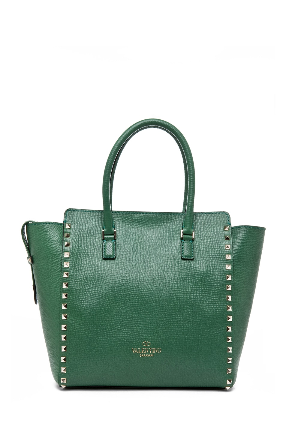 Image 2 of Valentino Rockstud Double Handle Bag in Pop Green