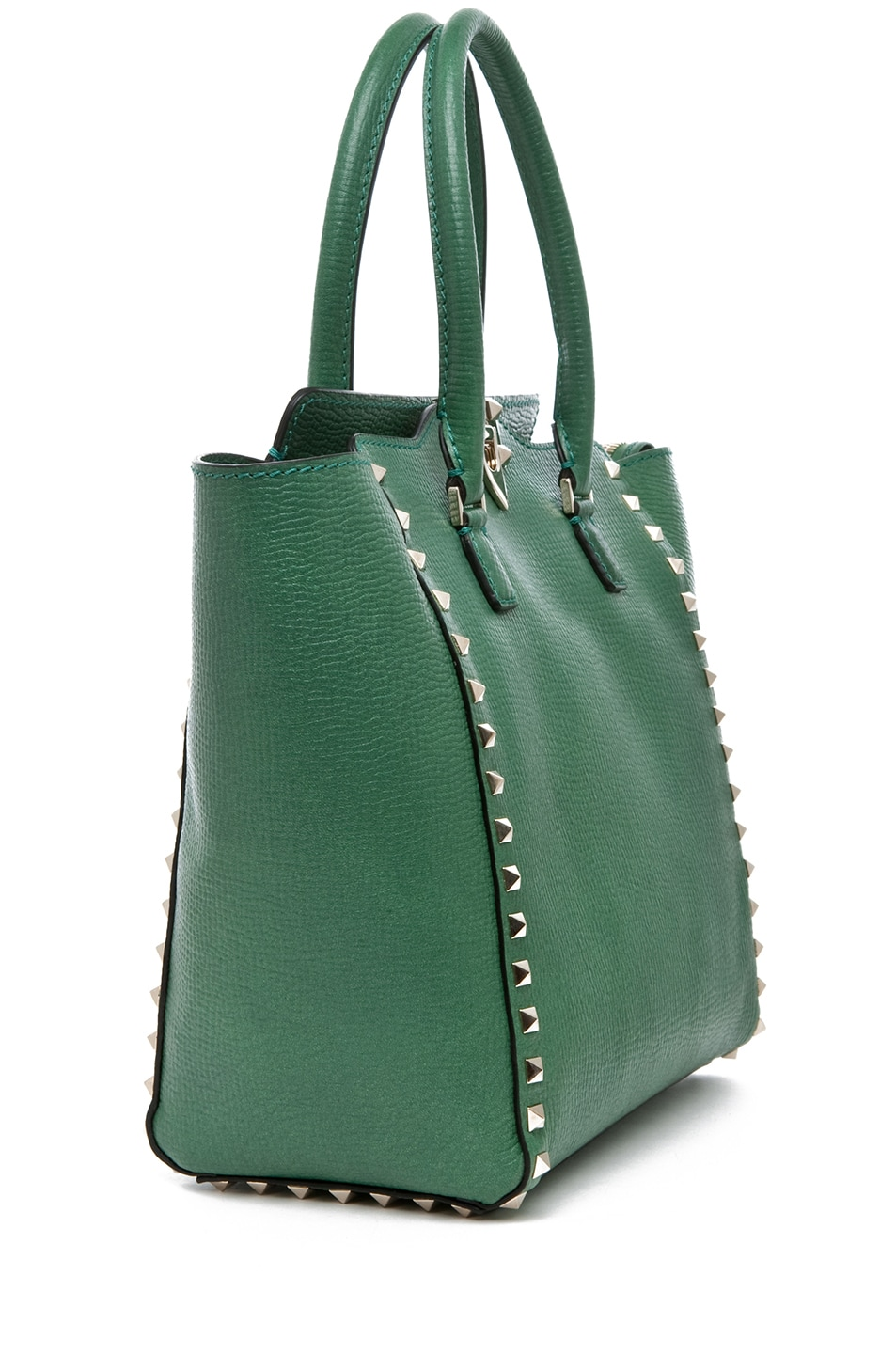 Image 3 of Valentino Rockstud Double Handle Bag in Pop Green
