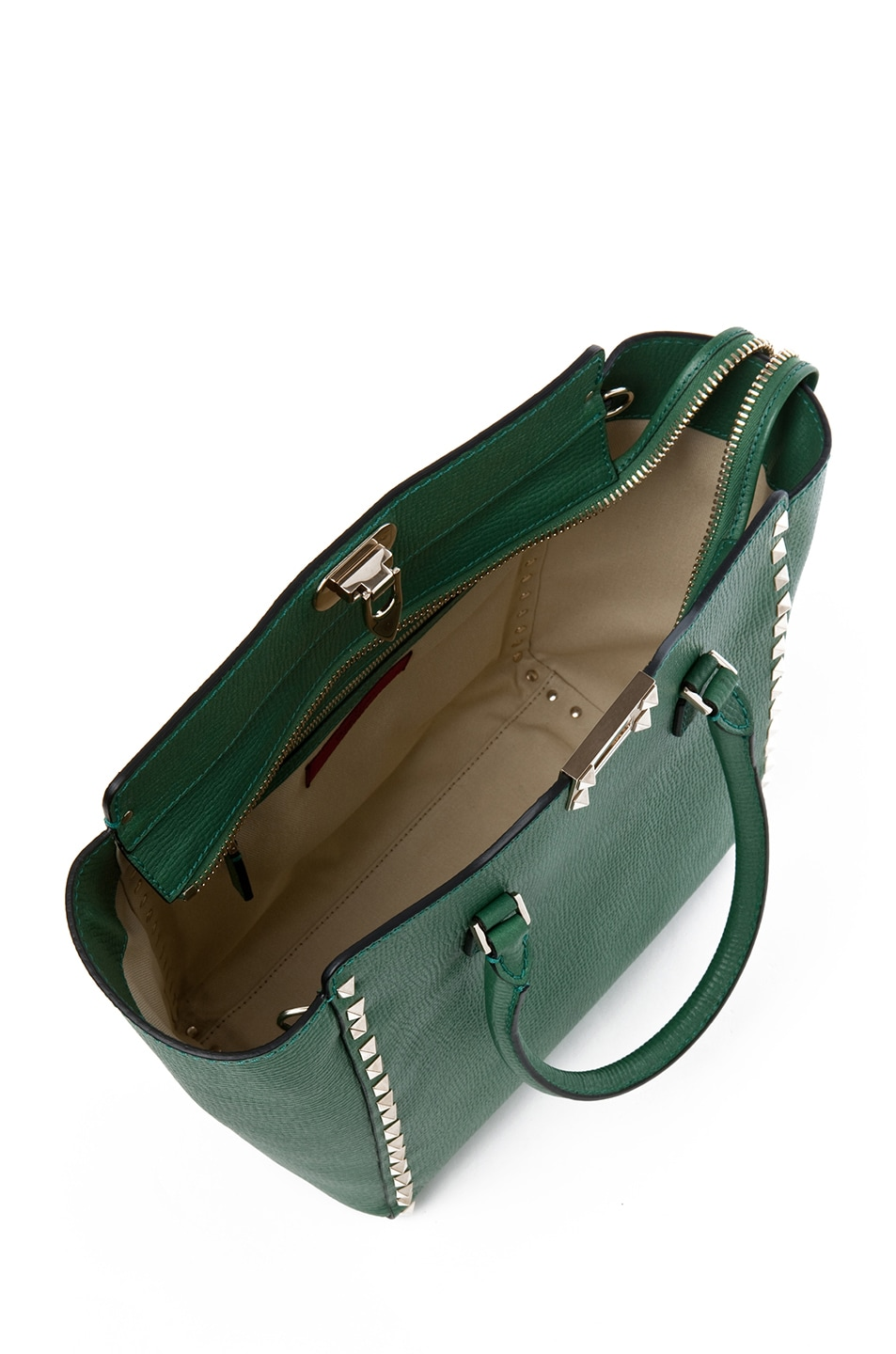 Image 4 of Valentino Rockstud Double Handle Bag in Pop Green