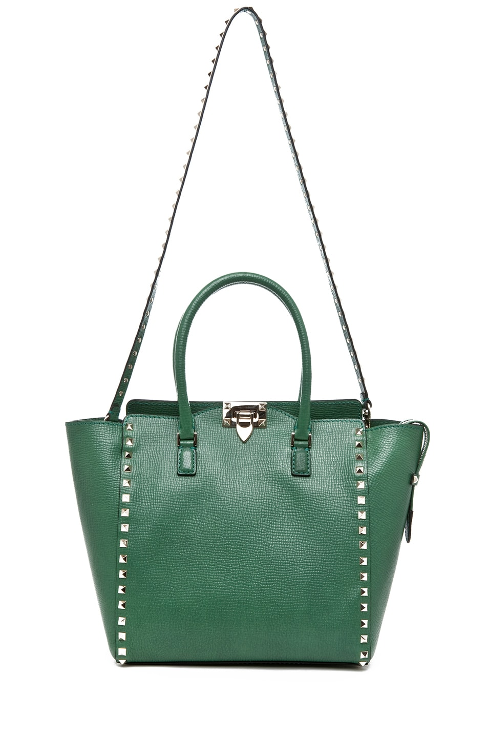 Image 5 of Valentino Rockstud Double Handle Bag in Pop Green