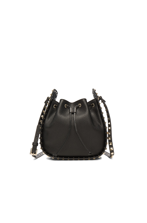 Image 1 of Valentino Rockstud Bucket Bag in Black