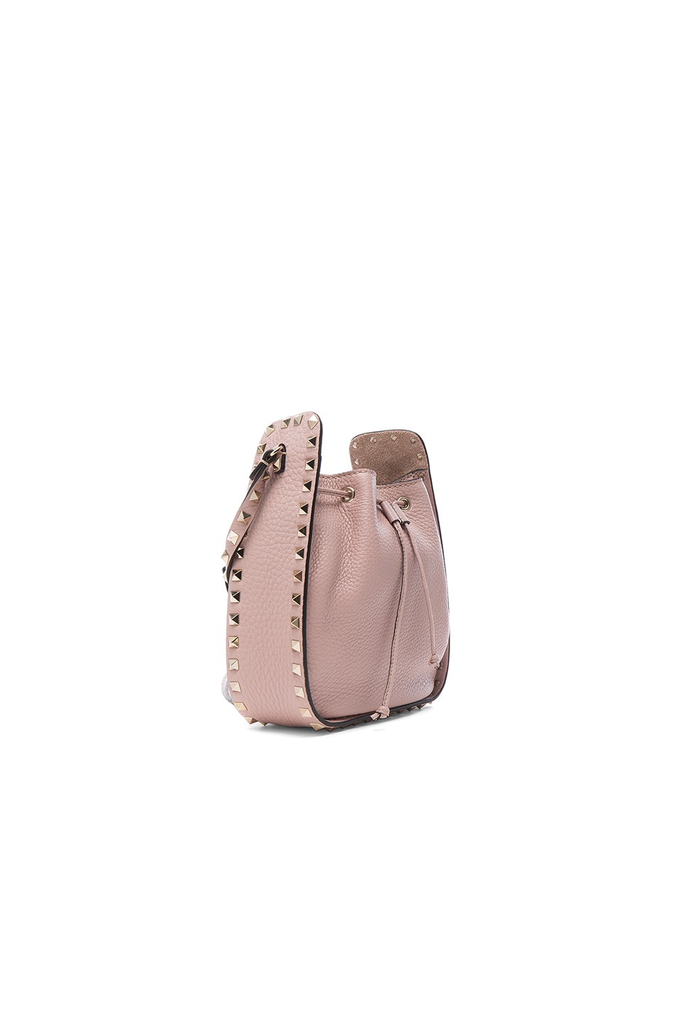 Image 3 of Valentino Rockstud Bucket Bag in Poudre