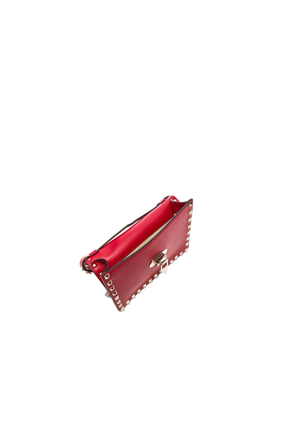 Image 4 of Valentino Small Rockstud Shoulder Bag in Red