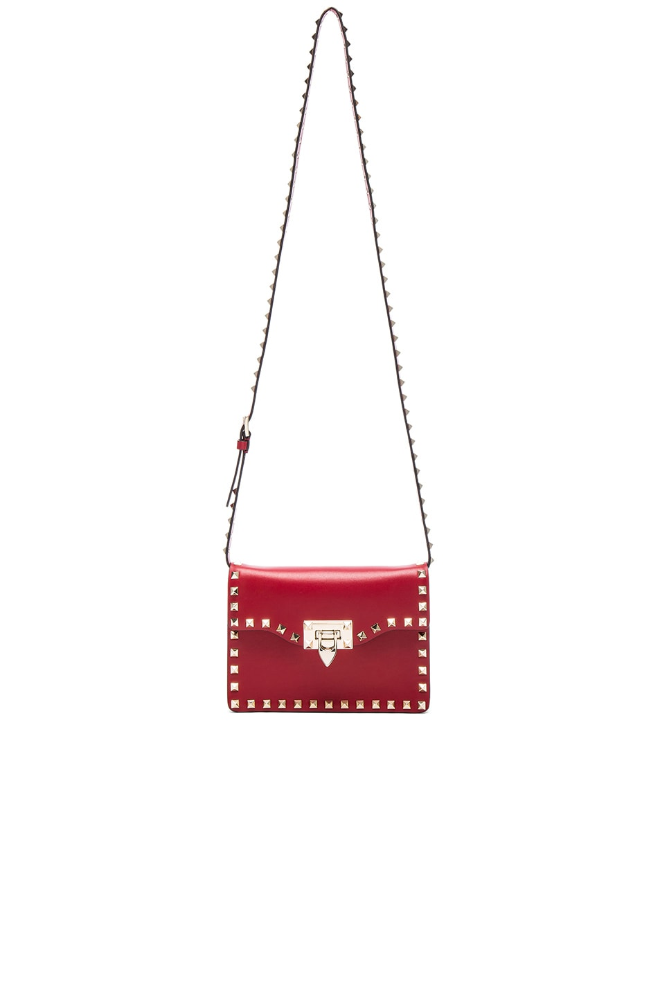 Image 5 of Valentino Small Rockstud Shoulder Bag in Red