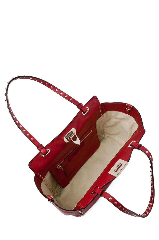 Image 4 of Valentino Rockstud Mini Tote in Rosso