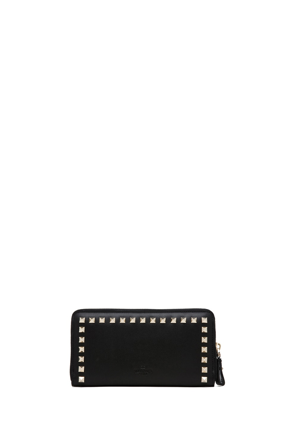 Image 2 of Valentino Around Studs Zipped Continental Wallet in Nero