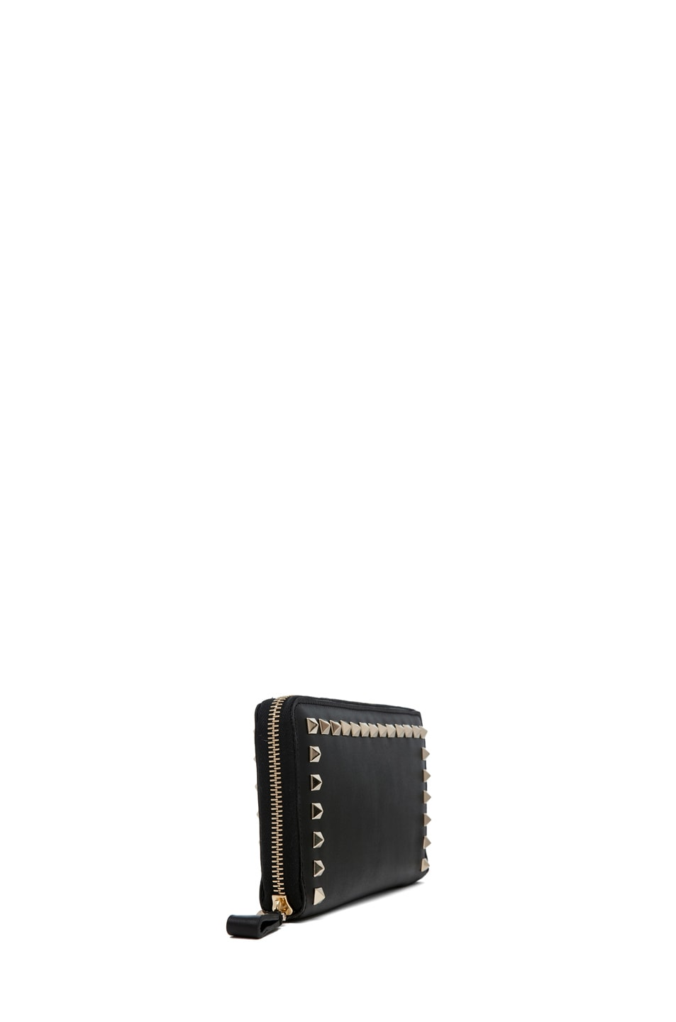 Image 3 of Valentino Around Studs Zipped Continental Wallet in Nero