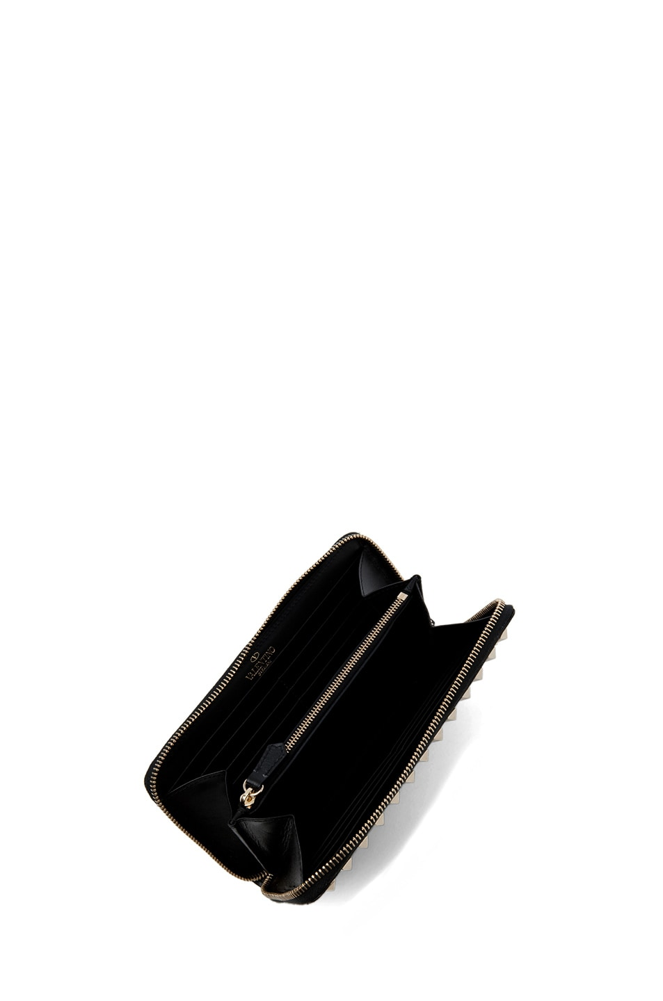 Image 4 of Valentino Around Studs Zipped Continental Wallet in Nero