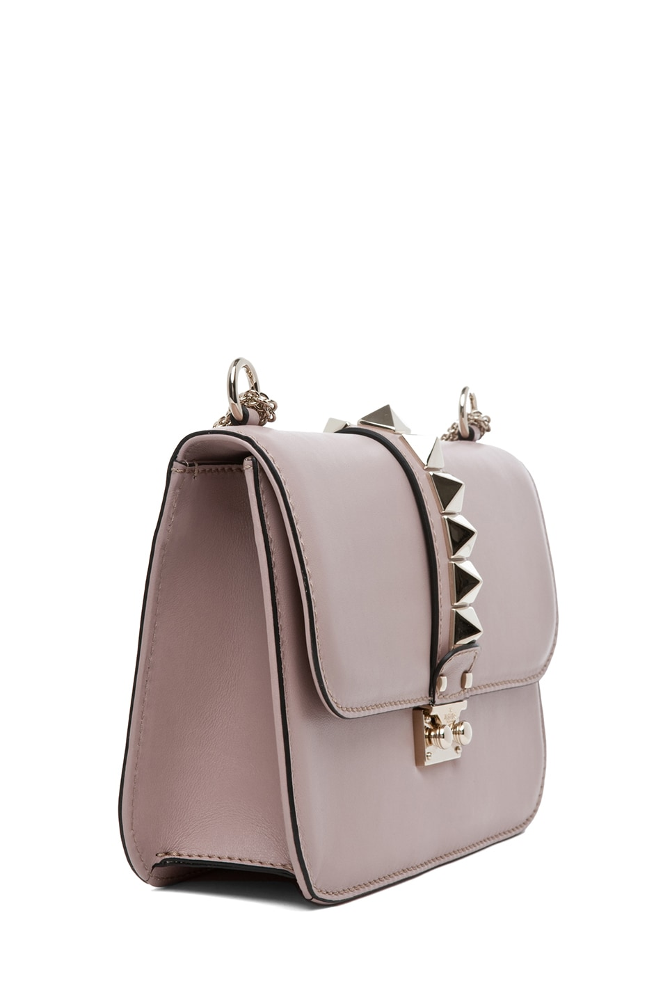 Image 3 of Valentino Medium Lock Flap Bag in Poudre