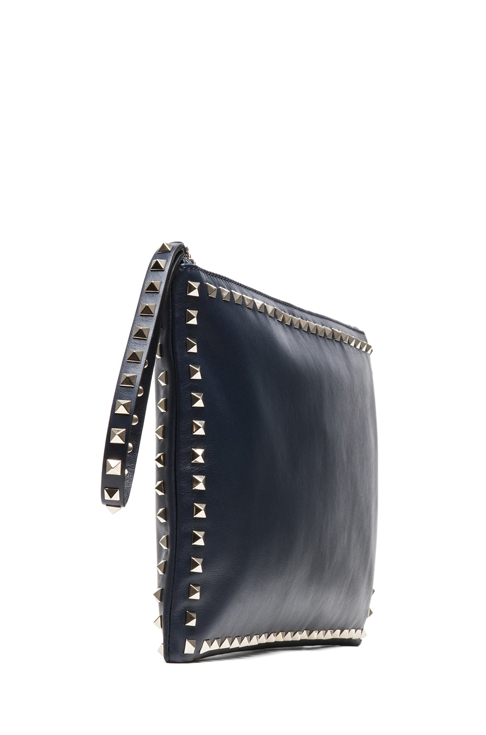 Image 3 of Valentino Small Rockstud Clutch in Marine