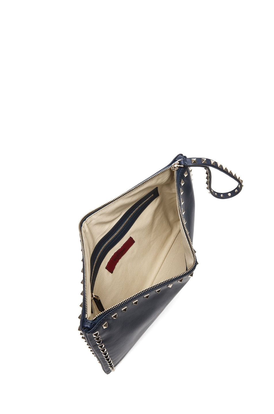 Image 4 of Valentino Small Rockstud Clutch in Marine