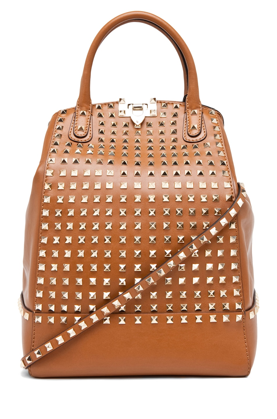 Image 1 of Valentino Rockstud Double Handbag in Lt. Brown