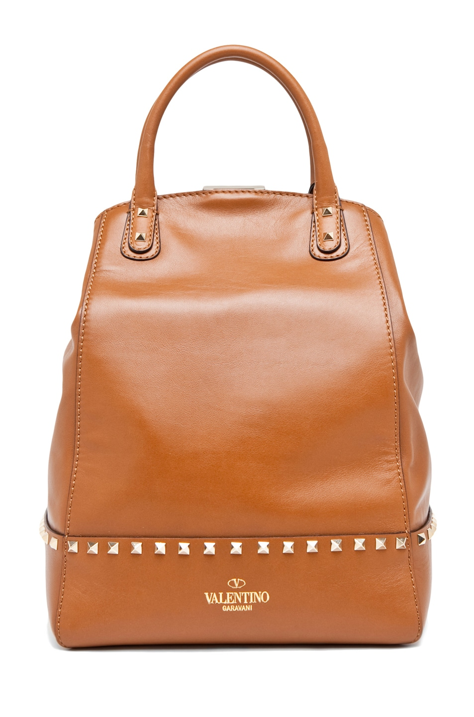 Image 2 of Valentino Rockstud Double Handbag in Lt. Brown
