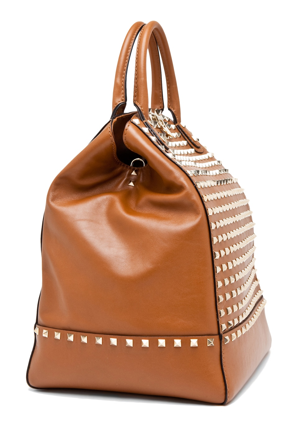 Image 3 of Valentino Rockstud Double Handbag in Lt. Brown