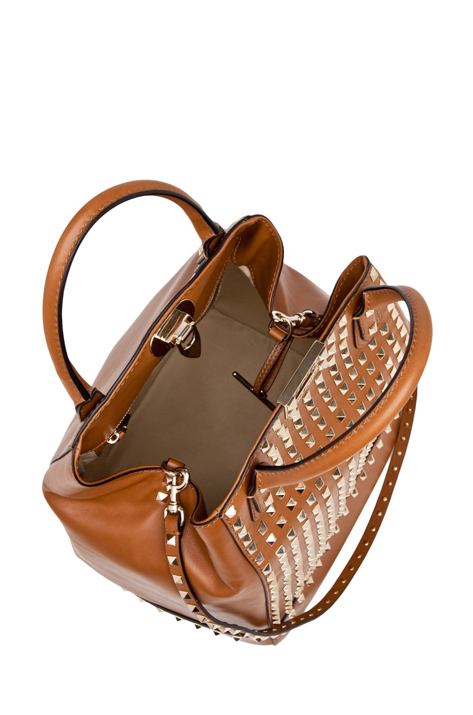 Image 4 of Valentino Rockstud Double Handbag in Lt. Brown