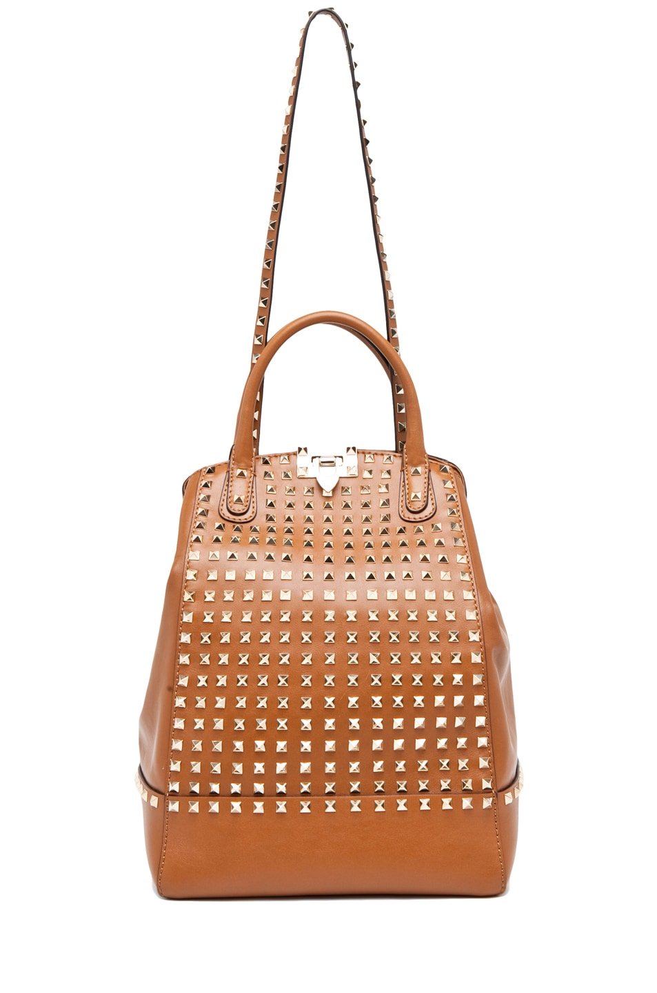 Image 5 of Valentino Rockstud Double Handbag in Lt. Brown