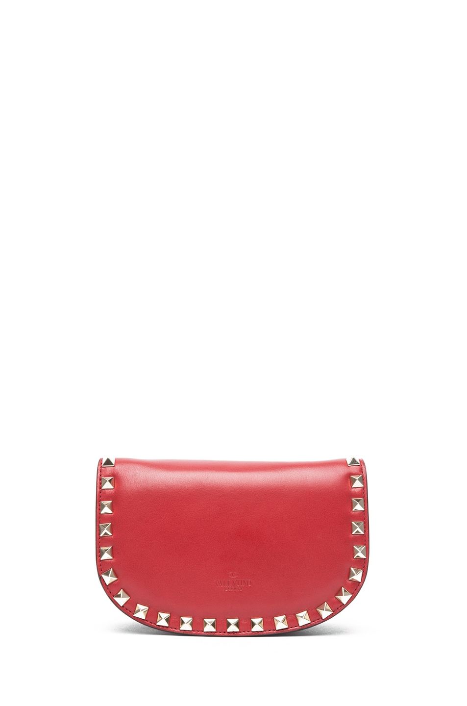 Image 2 of Valentino Mini Round Rockstud Shoulder Bag in Red